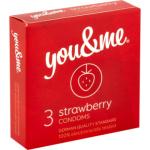 You & Me Strawberry, průhledný lubrikovaný kondom s vůní jahod, 3 kusy