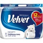 Velvet Soft white 3vrstvý toaletní papír, role 144 útržků, 12 rolí