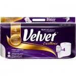 Velvet Excellence Premium Comfort 4vrstvý toaletní papír, role 160 útržků, 8 rolí