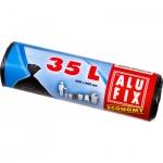 Alufix pytle na odpadky, zavazovací, silné 10 µ, rozměr 60 × 50 cm, objem 35 l, balení 25 ks