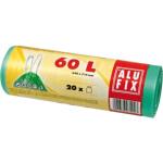 Alufix pytle na odpadky, zatahovací, silné 15 µ, rozměr 64 × 71 cm, objem 60 l, balení 10 ks