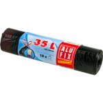 Alufix Economy zatahovací pytle na odpadky, černé, 8 µ, 35 l, 15 ks