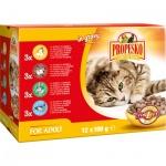 Propesko kapsičky pro kočky kuře, hovězí, králičí, losos, 12 × 100 g