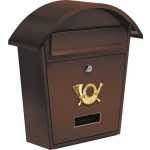 Poštovní schránka se stříškou oblou 380x320x105mm hnědá, TO-78587