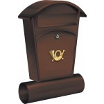 Poštovní schránka se stříškou oblou + zásobník na noviny 480x280x80mm hnědá, TO-78592