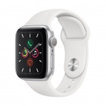 Apple Watch S5, 40mm, Silver/ White Sport Band, MWV62VR/A