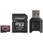 64GB microSDXC Kingston Canvas React Plus UHS-II V90 + adapter + čtečka, MLPMR2/64GB