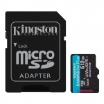 512GB microSDXC Kingston Canvas Go! Plus A2 U3 V30 170MB/s + adapter, SDCG3/512GB