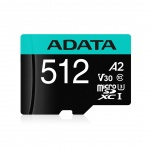 ADATA MicroSDXC 512GB U3 V30S až 95MB/s + adapter, AUSDX512GUI3V30SA2-RA1