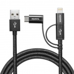 ADATA kabel 3v1 Micro USB/lightning/USB-C černý, AMCL23IN1-100CMK-CBK