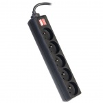 Premiumcord Prodlužovací přívod 230V 3m 5 zásuvek, vyp, černý, ppa5k-03bk