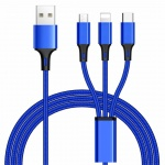 PremiumCord 3 in 1 USB kabel, 3 konektory USB typ C + micro USB + Lightning pro Apple, 1.2m, ku31pow01