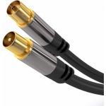 PremiumCord TV antenní HQ propojovací kabel M/F 75Ohm (135dB) 4x stíněný 5m, kjqiec5