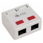 Zásuvka Solarix CAT5E UTP 2 x RJ45 na omítku bílá, SX288-5E-UTP-WH