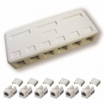 DATACOM zásuvka UTP CAT5E 6xRJ45 na omítku bílá, 2205