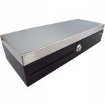 Virtuos Pokladní zásuvka flip-top FT-460C2 - s kabelem, se zamyk. krytem pořadače, Nerez víko, 9-24V, černá, EKN0009