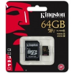 Kingston microSDXC 64GB UHS-I + adaptér SDCA10/64GB